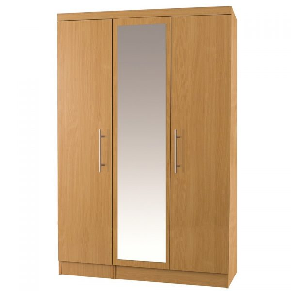 Beech 3 Door Wardrobe with Mirror