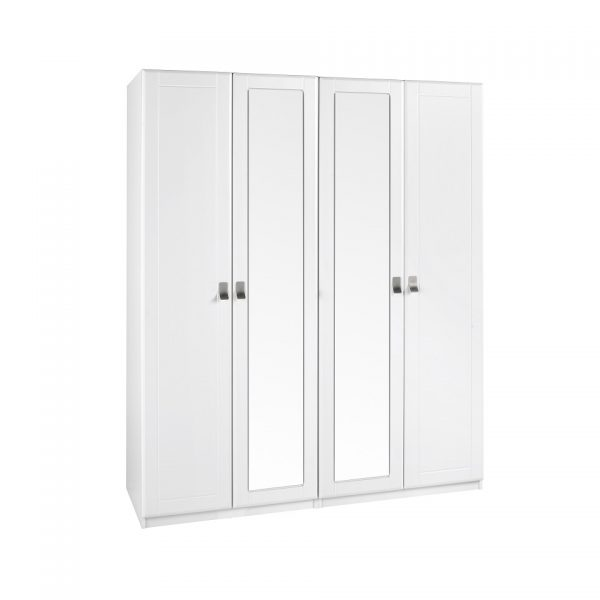 EXTRA TALL – Pearl White 4 Door Wardrobe