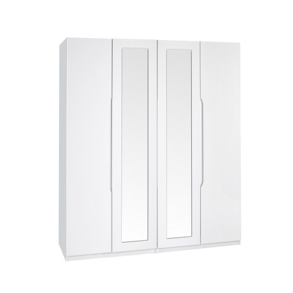 Extra Tall – Gloss 4 Door Wardrobe – White