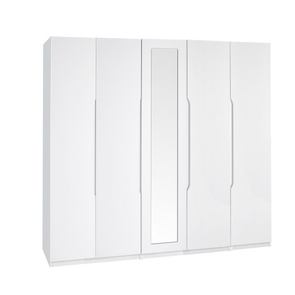 Extra Tall – Gloss 5 Door Wardrobe – White
