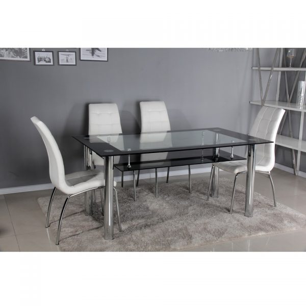 Porta Dining Table + 4 Lugano Chairs