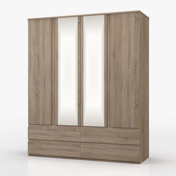 Juliet 4 Door Combi Wardrobe with Mirror