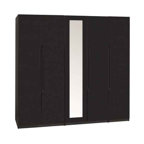 Extra Tall – Gloss 5 Door Wardrobe – Black