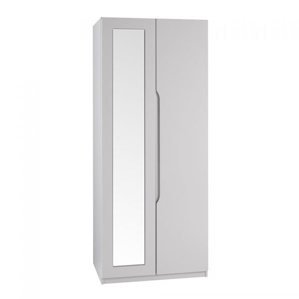 Gloss Double Door Wardrobe With Mirror – Cashmere