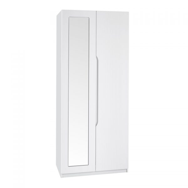 Gloss Double Door Wardrobe With Mirror – White