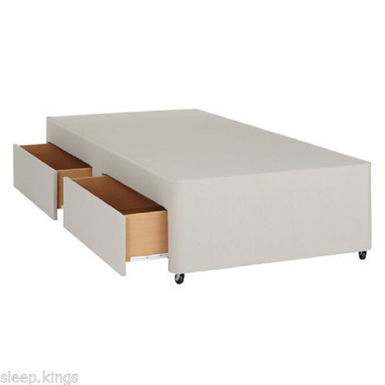 Divan base with 2 drawers single allied furniture for Single divan with drawers and headboard