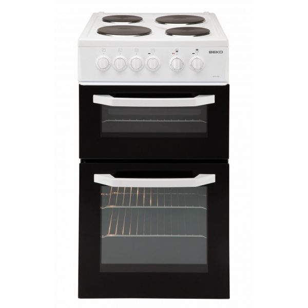 BEKO WHITE 50CM DOUBLE CAVITY COOKER WITH SOLID PLATE